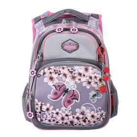 Рюкзак школьный эргоном.спинка Across DH3 39*29*17 дев, серый/сиреневый 20-DH3-5