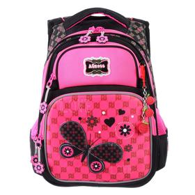 Рюкзак школьный эргоном.спинка Across DH3 39*29*17 дев, чёрный/розовый 20-DH3-4