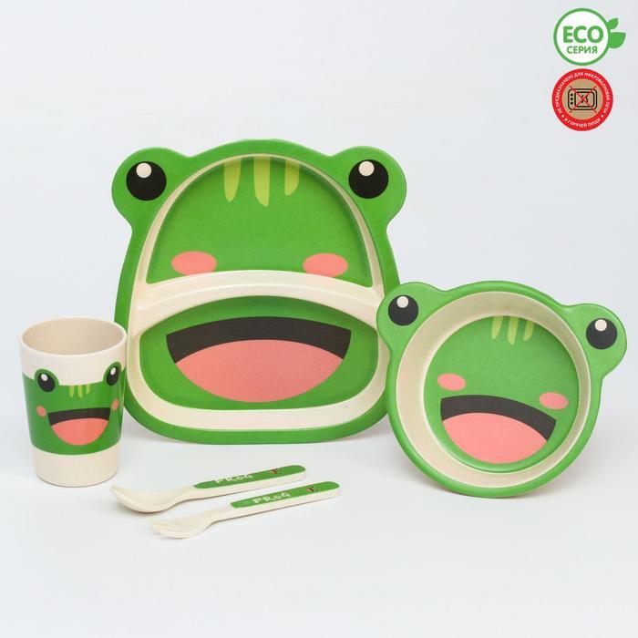 Набор бамбуковой посуды «Лягушка», 5 предметов: тарелка, миска, стакан, вилка, ложка - фото 492371