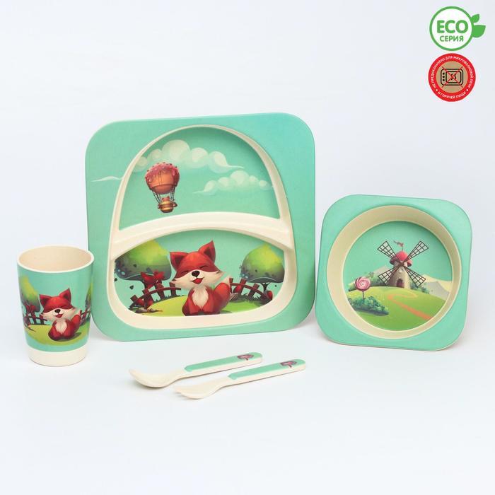 Набор бамбуковой посуды «Мельница», 5 предметов: тарелка, миска, стакан, вилка, ложка - фото 492379