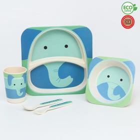 """A set of bamboo utensils """"Elephant"""", 5 pieces: plate, bowl, Cup, fork, spoon"""