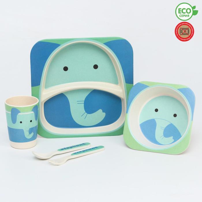 Набор бамбуковой посуды «Слоник», 5 предметов: тарелка, миска, стакан, вилка, ложка - фото 492387