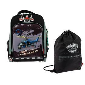 Рюкзак каркасный Across HK20 35*29*15 +мешок д/обуви мал, чёрн/гол/серый 20-HK20-2