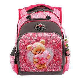 Рюкзак школьный эргоном.спинка Across CH550 39*29*17 дев, серый/розовый 20-CH550-4