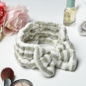 Повязка на голову «Этель» цвет серый/белый