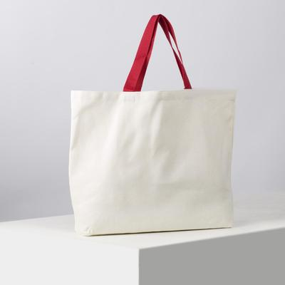 Bag shopper with red handle, 33х48, cotton