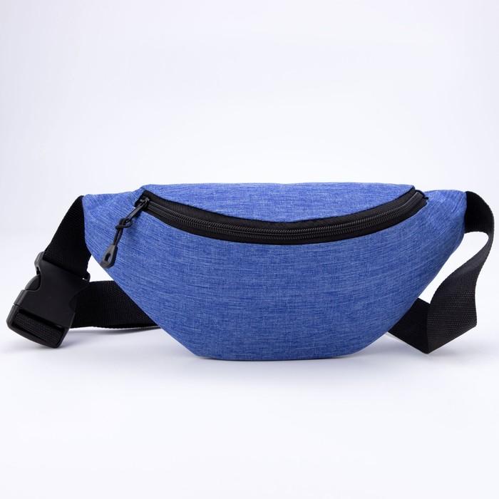 Сумка поясная, отдел на молнии, цвет голубой