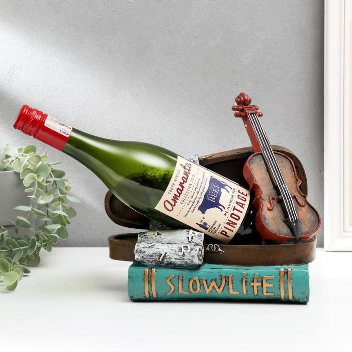 "Сувенир полистоун подставка под бутылку ""Книги и скрипка"" 23,5х25,5х13,5 см - фото 492414"