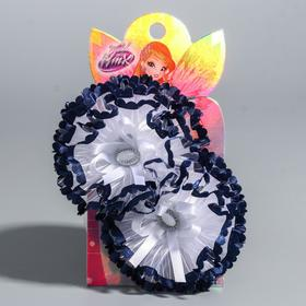 A set of bows, VINKS, 2 pcs, white with blue elements, 7 cm