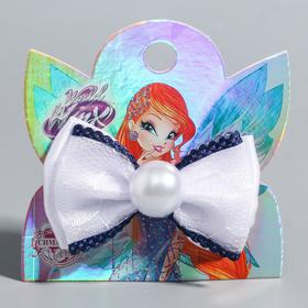 Clip-bow, VINKS, with a blue element and a bead, 7.5 * 7.5 cm