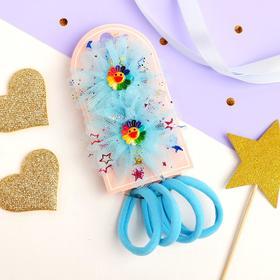"""Набор для волос """"Радужный цветок"""" (4 резинки, 2 зажима) ромашка, голубой"""