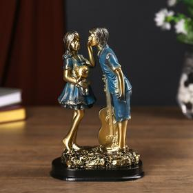 """Сувенир полистоун """"Девочка с мишкой и мальчик с гитарой"""" серебро с синим 19х8х12 см в Донецке"""
