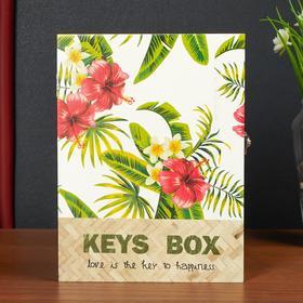 """Ключница дерево 6 крючков """"Цветущие тропики"""" 26х5х19,5 см"""