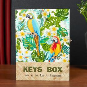 """Ключница дерево 6 крючков """"Попугаи Ара и тропические цветы"""" 26х5х19,5 см"""