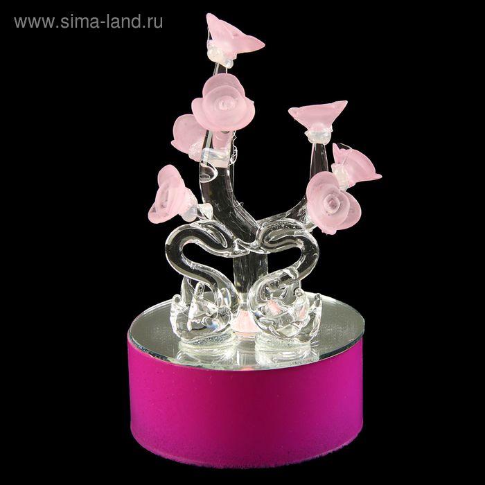 """Сувенир световой на зеркальной подставке """"Парочка и цветочное сердце"""""""