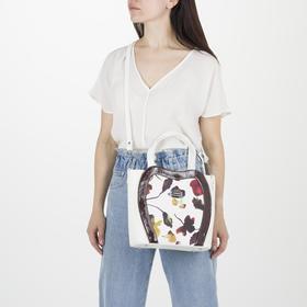 Сумка женская, отдел на молнии, 3 наружных кармана, длинный ремень, цвет белый - фото 53958