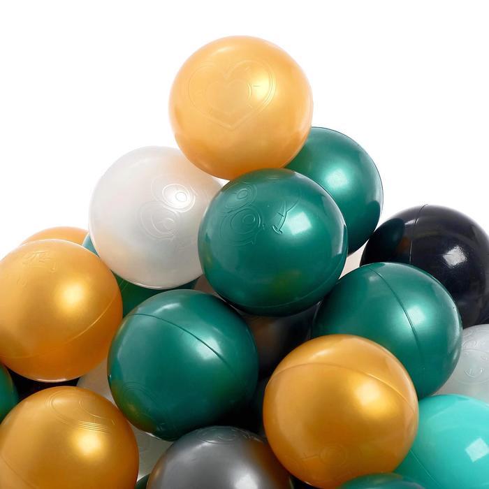 Набор шаров для сухого бассейна 150 штук (бирюзовый, серебро, зеленый металлик, золотой, белый перламутр, черный)