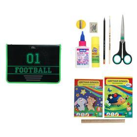Папка для труда А4 Calligrata «Футбол» с наполнением, 10 предметов, пластиковая