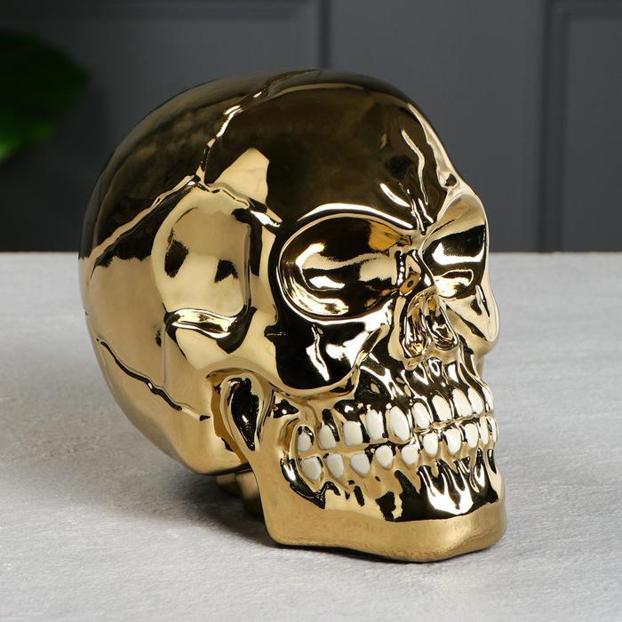 """Копилка """"Череп"""", золотистая, керамика, 16 см"""