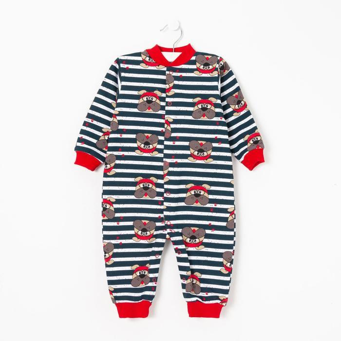 Комбинезон детский «Пират», цвет синий/красный, рост 74 см - фото 105476459