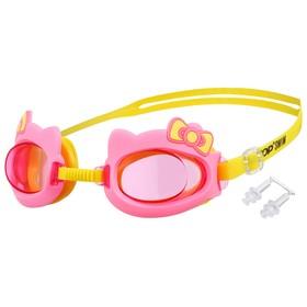 Очки для плавания «Бантик» + беруши, детские, цвет розовый