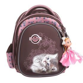 Рюкзак каркасный Across 203 35*29*18 +мешок д/обуви дев, коричневый/розовый 20-203-6