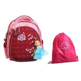 Рюкзак каркасный Across 203 35*29*18 +мешок д/обуви дев, красный/розовый 20-203-8