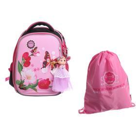 Рюкзак каркасный Across 292 36*29*17 +мешок д/обуви дев, розовый 20-292-6
