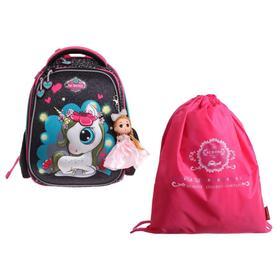 Рюкзак каркасный Across 392 36*29*17 +мешок д/обуви дев, чёрный/розовый 20-392-8