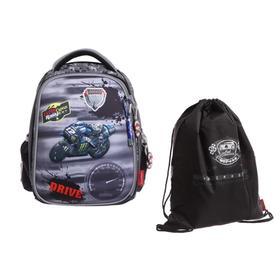 Рюкзак каркасный Across 392 36*29*17 +мешок д/обуви мал, серый/чёрный 20-392-3