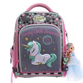 Рюкзак каркасный Across HK20 35*29*15 +мешок д/обуви дев, серый/розовый 20-HK20-5