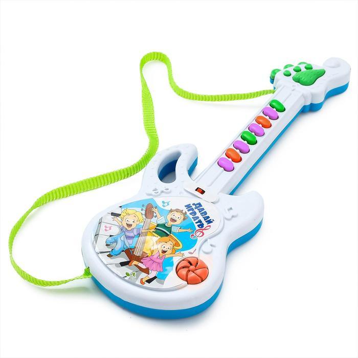 Игрушка музыкальная гитара «Давай играть», звуковые эффекты, работает от батареек