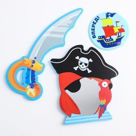Набор игрушек для ванны «Морские приключения»: зеркало, игрушка из EVA, мини-коврик