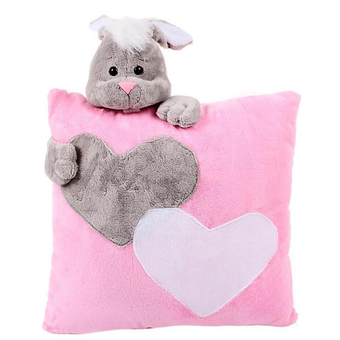 Подушка «Заяц», цвет розовый, 34 см