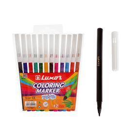 """Фломастеры 12цв Luxor """"Coloring"""" смываемые, ПВХ, европодвес"""