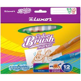 """Фломастеры-кисти 12цв Luxor """"Color Brush"""" смываемые, картон, европодвес"""