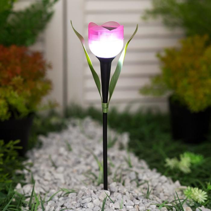 """Фонарь садовый на солнечной батарее Uniel """"Розовый тюльпан"""", белый свет, IP44, 305 мм"""