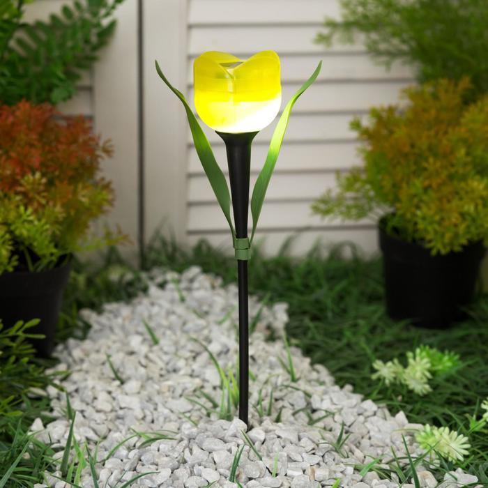 """Фонарь садовый на солнечной батарее Uniel """"Желтый тюльпан"""", белый свет, IP44, 305 мм"""