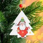 "Christmas pendant wooden ""Christmas Tree and Santa Claus,"" 0,5x6,7x7,5 cm"