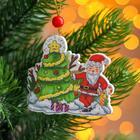 "Pendant wooden ""Tree and Santa Claus,"" 0,5x7,5x6,7 cm"