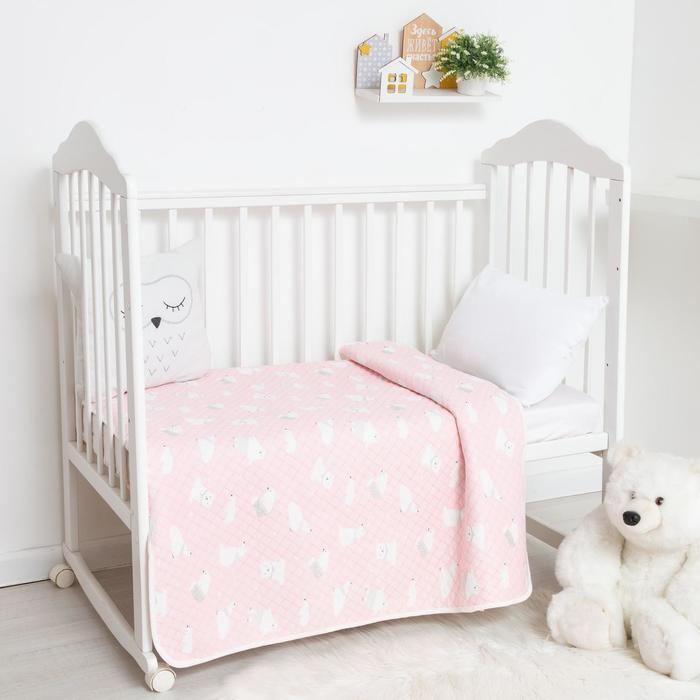 Одеяло стёганое Крошка Я «Мишка» 100х110 см, цвет розовый - фото 76545490