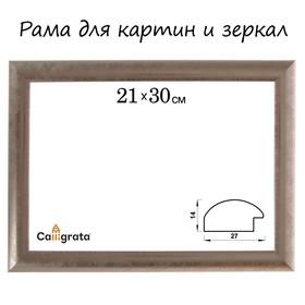 Рама для зеркал и картин, пластик, 21 х 30 х 2.7 см, Calligrata 647221, серебро