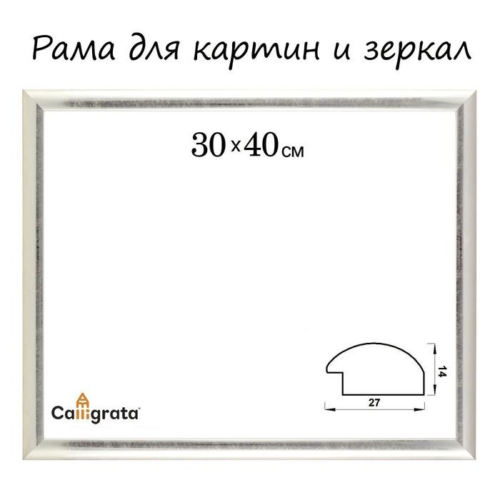 Сила Техники - Рама для картин (зеркал) 30 х 40 х 2.7 см, пластиковая, Calligrata, серебро