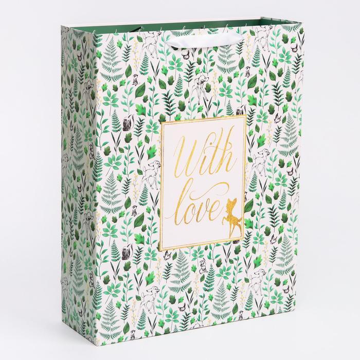 "Пакет ламинат вертикальный ""With Love"", Disney, 31х40х11 см"