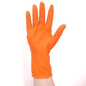 Перчатки нитриловые текстурированные, размер L, особопрочные, длинные манжеты, 15 гр, 50 шт/уп, цвет оранжевый