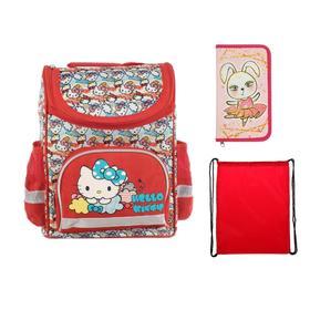 Ранец Стандарт Hello Kitty 32 х 25 х 13, для девочки + мешок для обуви + пенал