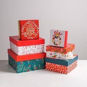 Набор подарочных коробок 6 в 1 Happy new year, 10 × 10 × 6 - 20 × 20 × 11 см