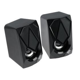 Компьютерные колонки 2.0 Qumo Mask AS004, 2х5 Вт, USB, RGB подсветка, чёрные