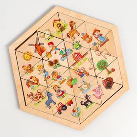 Пазл деревянный «Ферма» (Занимательные треугольники)