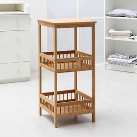 Этажерка прямоугольная №2, 3 яруса, 38,5×39,5×86,5 см, бамбук